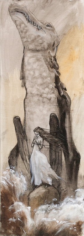 Donna con drago di montagna