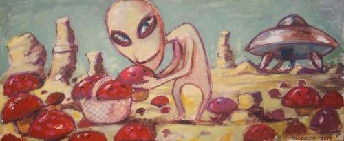Alieno che cerca funghi