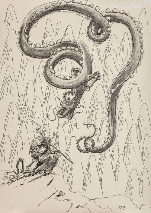 Il samurai della teiera contro il grande dragone